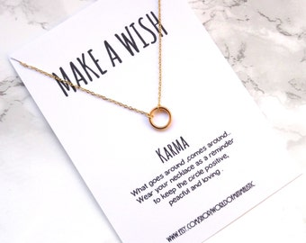 Minimalist Karma necklace, gold circle necklace, dainty simple silver necklace, karma jewelry, wish necklace, layering minimalist necklace