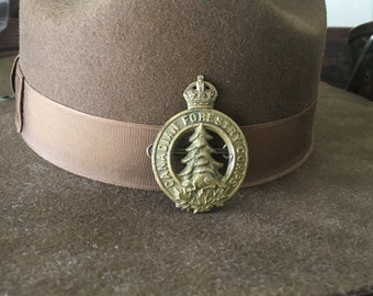 Canadian Forestry Corps WWII Brass Hat Badge