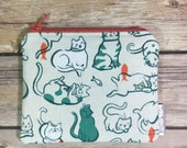 Fabric Coin Pouch, Change Purse, Fabric Pouch, Small Zippered Pouch, Card Wallet, Cat Lady Fabric, Gift for Her