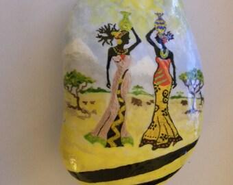 africa women theme hand painted stone