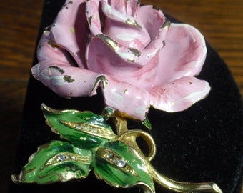 Vintage Enamled Rose Brooch with Rhinestone accents