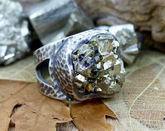 """Oxidised Silver """"Fools Gold"""" Adjustable Ring, Naturally Cubic Iron Pyrite, Statement Ring, Golden Squares, Two Skies Highland Gems (7655)"""