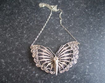Sterling SILVER Filligree BUTTERFLY NECKLACE, Pendant, and Chain