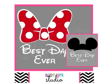 Best Day Ever with Minnie Mouse Bow or Mickey Ears with Cap Mom Cheer Squad Honeymoon Matching Family Disney Iron On Vinyl for Shirt 422