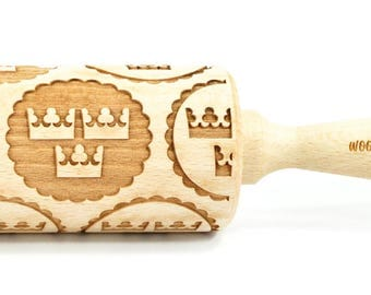 Tre Kronor / Three Crowns, national emblem of Sweden,  Big size Rolling Pin, Engraved Rolling Pin, Rolling Pin, Embossed Cookies