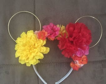 Warm colors mouse ears flowered headband