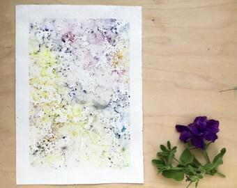 Original watercolour painting - Rain Painting  - Sunshine and Dusty Garnet - Original Painting - A5 - Desk Art