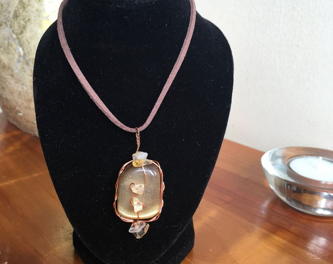 Cats Eye Pendant with Citrine Chipstones wrapped in copper wire