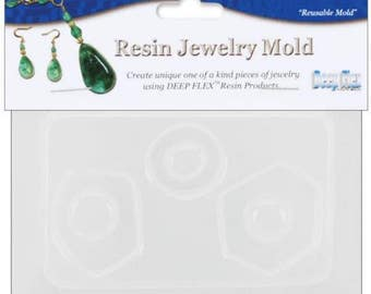 """Resin Jewelry Mold 3.5""""X4.5"""" Abstract Shapes - 3 Cavity"""