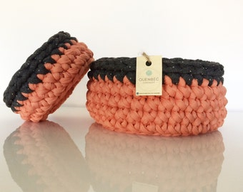 Set di 2 cestini PESCA-GRIGIO all'uncinetto | crochet baskets | crochet bowls