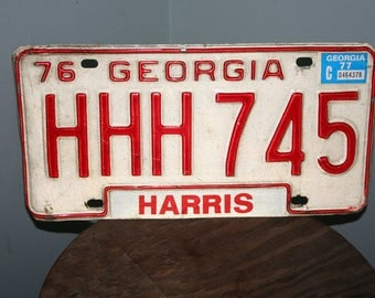 Georgia License Plate - 1976 , Steampunk Decor , Man Cave Decor , License Plate Collector Gift