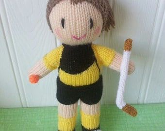 Hockey player knitted doll