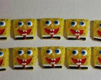 Sponge Bob Resin Flatbacks, 10 Pcs Resin Craft Supplies, Kid's Flatbacks for crafts & jewelry making, Party Favors, SpongeBob