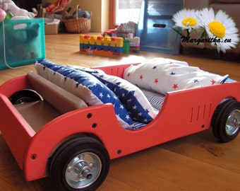 Large doll bed and car, racecar, handmade, 18 inch doll bed, race car, bedding, waldorf wooden toy, large doll furniture, american doll bed