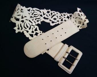 Vintage Women's  White Leather Belt, Champagne Color Decorative  Belt, Wide Belt