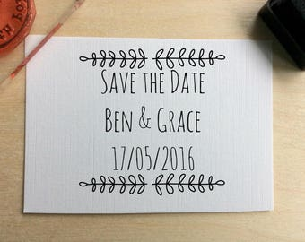 Personalised wedding stamp, custom save the date rubber stamp, custom wedding gift tag stamp, wedding date personalised stamp, civil cermony