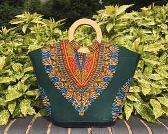 Green dashiki bag with wooden handles