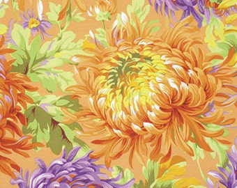 Kaffe Fassett Classics Shaggy in Yellow by Philip Jacobs - orange sun flowers floral cotton fabric by the yard metre PWPJ072.YELLO