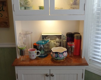 Custom Tea/China Cabinet Hutch- Solid wood, Hardwood top