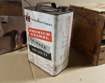 Vintage IH International Harvester Enamel Thinner One Gallon Can (Rare)
