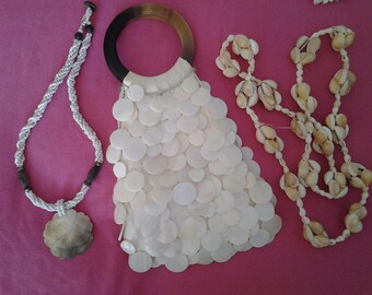 Seashells Vintage Bundle - MOP Evening Bag and two Shell Necklaces