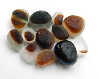 Mixed Sizes Brown Sea Glass Multis Set