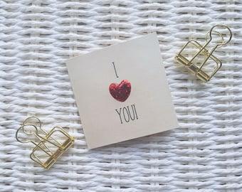 Valentines Card, Valentine Card, Love Card, I Love You Card, Valentines Day Card, Gift Tag, Small Card