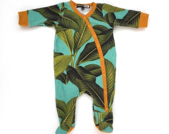 Tropical Palm print One-Piece Footie Pajamas, baby onesie, baby shower gift, baby pajamas, baby hospital outfit, take home baby outfit