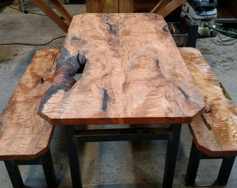 Maple Burl Dining Table, with matching benches