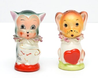 Vintage Ceramic Cat and Dog Salt and Pepper Shakers with red heart