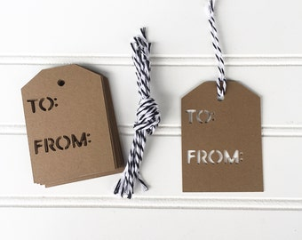To and From Cardstock Gift Tag Set of 12
