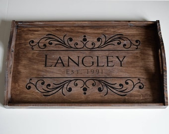 Large Serving Tray-Rustic Wooden Tray-Natural-Breakfast Tray-Personalized Serving Tray-Ottoman Tray-Custom Tray-Decorative tray-Wedding Gift