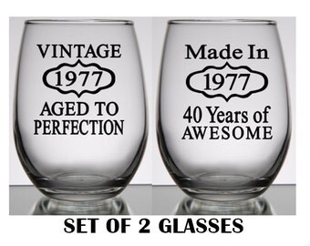 40th Birthday Wine or on the Rocks Glasses Set of 2, Birthday for Women, Birthday Gift for Men, Birthday Presents for Him, Birthday Present