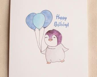 Watercolor penguin birthday card, watercolour penguin, baby penguin, penguin painting, penguin chick, handpainted card, handmade card
