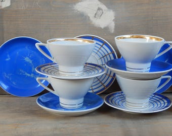 Set of 5 Vintage Coffee Cup/ Saucer/ Small Plate Set Mismatched Espresso Set Cobalt blue Gold Hand Painted Made in USSR 1970 s Verbilky RPR