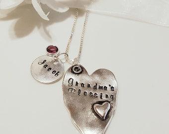 Grandma's Blessing - Grandchild Necklace - Gift for Grandmother - Grandchildren Necklace - Grandbaby Jewelry - Birthstone