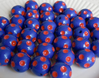 20mm blue and red polka dot bubblegum beads (10ct) gumball beads chunky beads necklace girl's jewelry wholesale patriotic polka dot