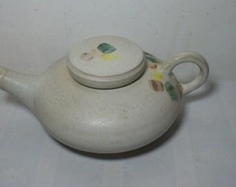 Tea pot,Stoneware,Soft white matt glaze,Hand decorated,Hand thrown,Cornish pottery ref Tp 102
