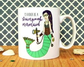 Mermaid Mug, Steampunk Mermaid Mug, Steampunk Mug, Steampunk Gift, Mermaid Gift, Alternative Gift, Gift For A Friend, Steampunk Fan, Mermaid