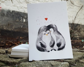 Postcard - Penguin love - postcard A6