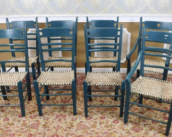 Set 8 Quality Painted Green Country Dining Room Chairs w/ Rawhide Woven Seats c1980s