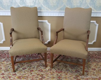 Pair Ethan Allen Martha Washington Upholstered Tall Back Armchairs #20-7471