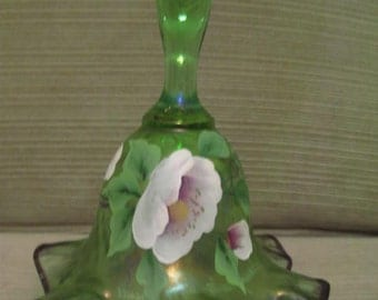 """Un Used Vintage Fenton Inch Green Glass Hand Painted Flower Ruffle Bottom Bell 6.5"""" x 5.25"""""""