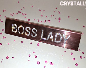 """CRYSTALLIZED Mini 6"""" Boss Lady Nameplate Plastic Desk Sign Rose Gold Blinged with Swarovski Crystals - CRYSTALL!ZED by Bri"""