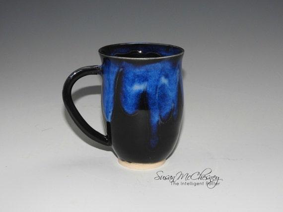 Handcrafted Stoneware Coffee/Tea Mug with Beautiful Cobalt Blue Around Rim and Handle
