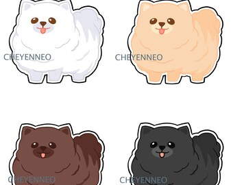 Kawaii Pomeranian Dog Stickers