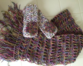 Crocheted Fingerless Gloves and Scarf