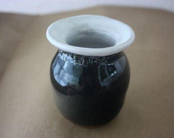 Black and white ceramic vase - beautiful handmade pottery