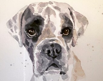 Original Watercolour Boxer Dog