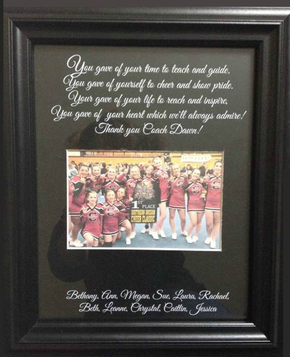 Cheer Coach Thank You Gift Personalized Verse Picture Frame